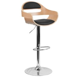 Beech Bentwood Adjustable Height Bar Stool with Black Vinyl Seat and Cutout Padded Back