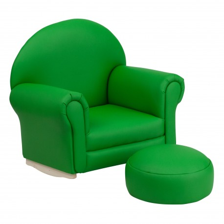 Kids Green Vinyl Rocker Chair and Footrest