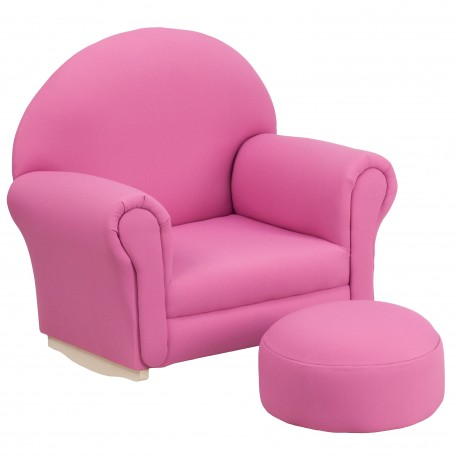 Kids Hot Pink Fabric Rocker Chair and Footrest