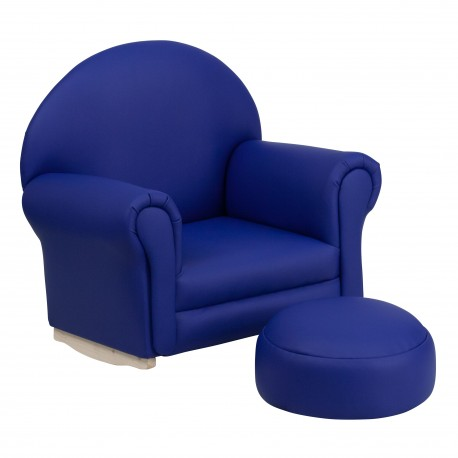 Kids Navy Vinyl Rocker Chair and Footrest