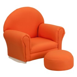 Kids Orange Fabric Rocker Chair and Footrest