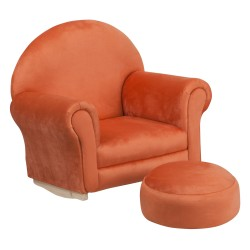 Kids Orange Microfiber Rocker Chair and Footrest