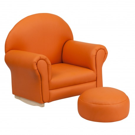 Kids Orange Vinyl Rocker Chair and Footrest