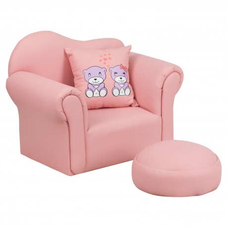 Kids Pink Chair and Footrest