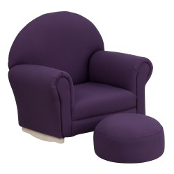 Kids Purple Fabric Rocker Chair and Footrest