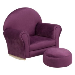 Kids Purple Microfiber Rocker Chair and Footrest