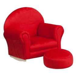 Kids Red Microfiber Rocker Chair and Footrest