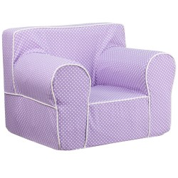 Oversized Lavender Dot Kids Chair with White Piping
