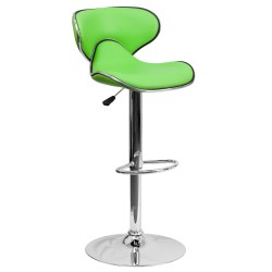 Contemporary Cozy Mid-Back Green Vinyl Adjustable Height Bar Stool with Chrome Base