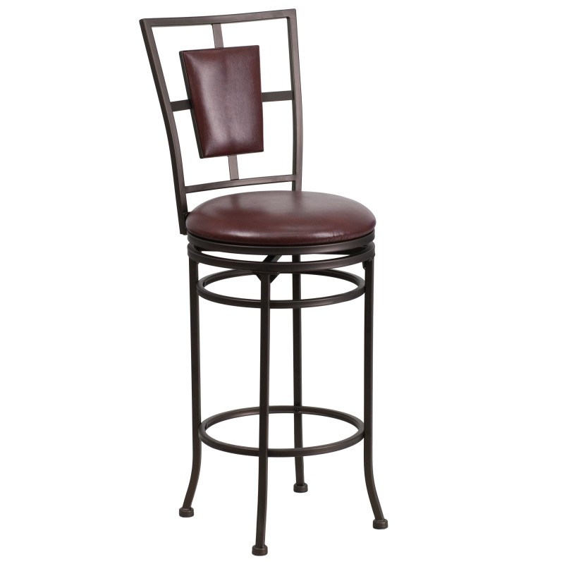 29 Brown Metal Bar Stool with Brown Leather Swivel Seat : 29 brown metal bar stool with brown leather swivel seat from myfriendlyoffice.com size 800 x 800 jpeg 39kB