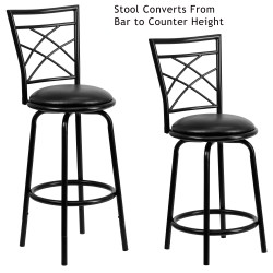 29'' Black Metal DUAL Height Counter or Bar Stool with Black Leather Swivel Seat