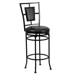 29'' Black Metal Bar Stool with Black Leather Swivel Seat