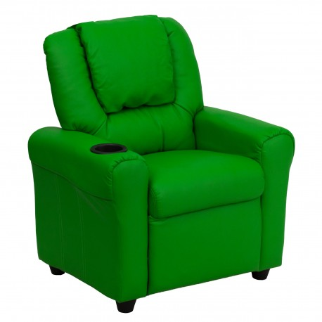 Contemporary Green Vinyl Kids Recliner with Cup Holder and Headrest