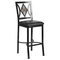 29'' Black Metal Bar Stool with Black Leather Seat