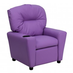 Contemporary Lavender Vinyl Kids Recliner with Cup Holder