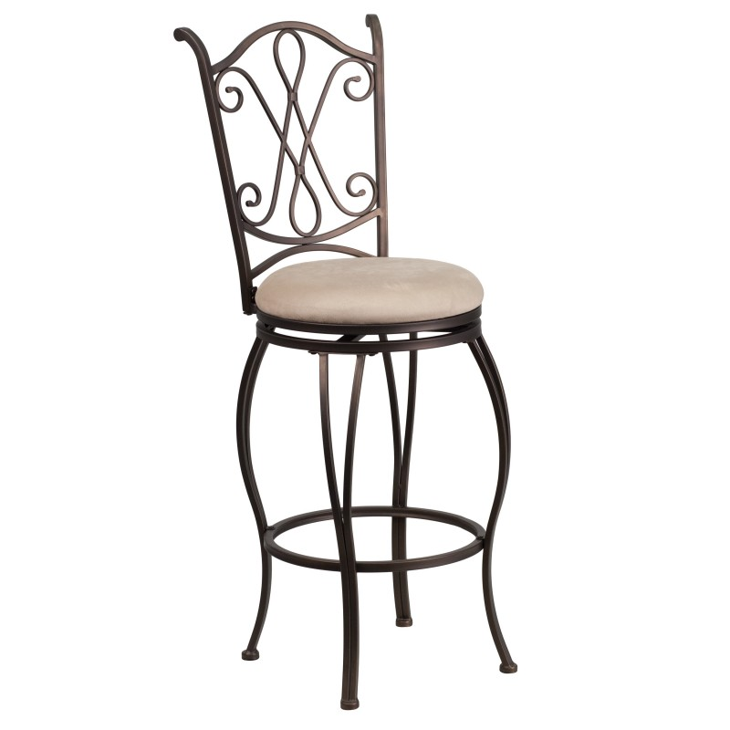 29 Brown Metal Bar Stool With Beige Microfiber Swivel Seat