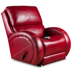 Massaging Como Red Leather Recliner with Heat Control