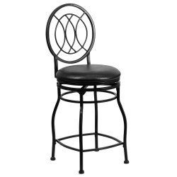 24'' Black Metal Counter Height Stool with Black Leather Swivel Seat