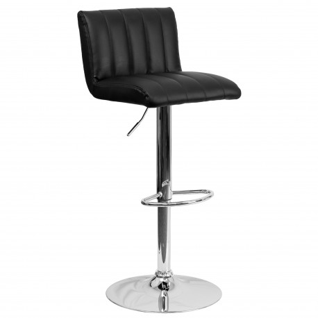 Contemporary Black Vinyl Adjustable Height Bar Stool with Chrome Base