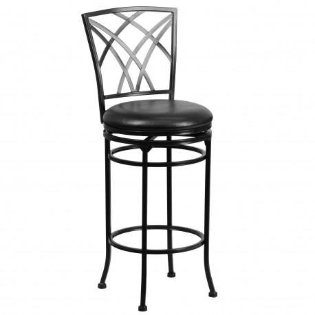 29'' Black Metal Bar Stool with Black Leather Swivel Seat