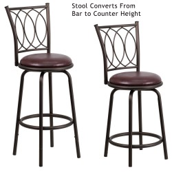 29'' Brown Metal DUAL Height Counter or Bar Stool with Brown Leather Swivel Seat