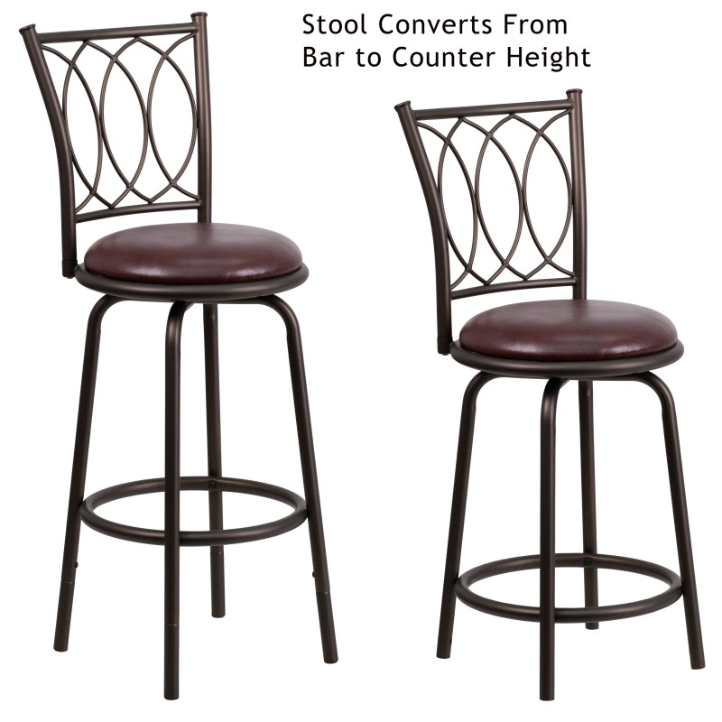 29 Brown Metal DUAL Height Counter or Bar Stool with  : 29 brown metal dual height counter or bar stool with brown leather swivel seat from myfriendlyoffice.com size 800 x 800 jpeg 78kB