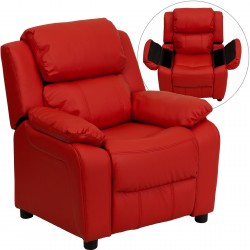 Deluxe Padded Contemporary Red Vinyl Kids Recliner with Storage Arms