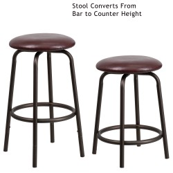 Backless Brown Metal DUAL Height Counter or Bar Stool with Brown Leather Seat