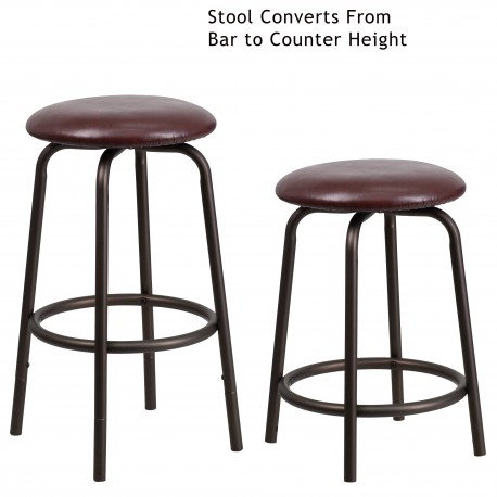 Backless Brown Metal Dual Height Counter Or Bar Stool With