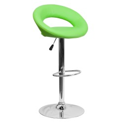 Contemporary Green Vinyl Rounded Back Adjustable Height Bar Stool with Chrome Base