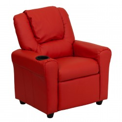Contemporary Red Vinyl Kids Recliner with Cup Holder and Headrest