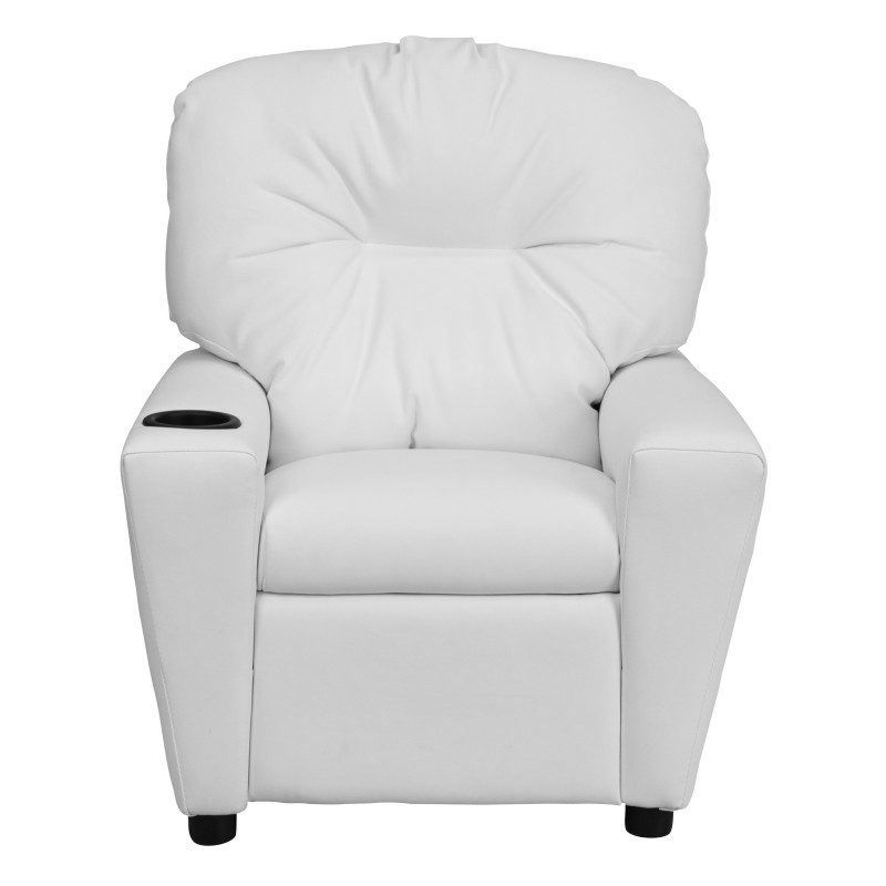 Contemporary White Vinyl Kids Recliner with Cup Holder  sc 1 st  My Friendly Office & White Vinyl Kids Recliner with Cup Holder islam-shia.org
