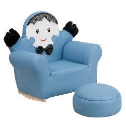 Kids Blue Little Boy Rocker Chair and Footrest