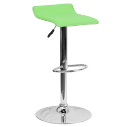 Contemporary Green Vinyl Adjustable Height Bar Stool with Chrome Base