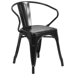 Black Metal Chair with Arms