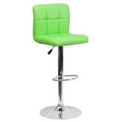 Contemporary Green Quilted Vinyl Adjustable Height Bar Stool with Chrome Base