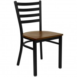 Black Ladder Back Metal Restaurant Chair - Cherry Wood Seat