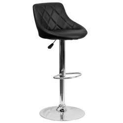 Contemporary Black Vinyl Bucket Seat Adjustable Height Bar Stool with Chrome Base