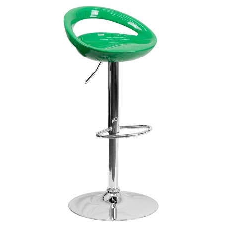 Contemporary Green Plastic Adjustable Height Bar Stool with Chrome Base