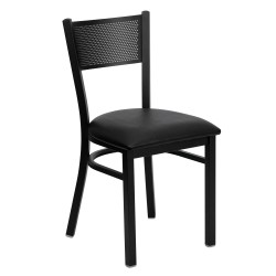 Black Grid Back Metal Restaurant Chair - Black Vinyl Seat
