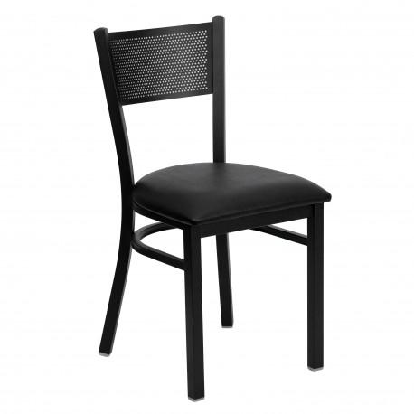 Black Grid Back Metal Restaurant Chair - Black Vinyl Seat