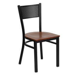 Black Grid Back Metal Restaurant Chair - Cherry Wood Seat