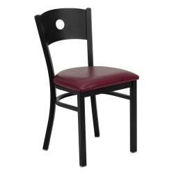 Black Circle Back Metal Restaurant Chair - Burgundy Vinyl Seat