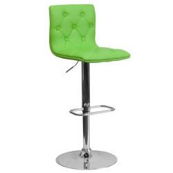 Contemporary Tufted Green Vinyl Adjustable Height Bar Stool with Chrome Base