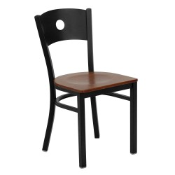Black Circle Back Metal Restaurant Chair - Cherry Wood Seat