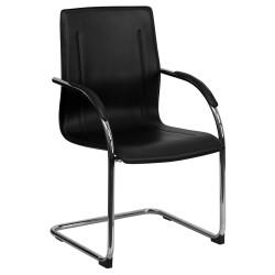 Black Vinyl Side Chair with Chrome Sled Base