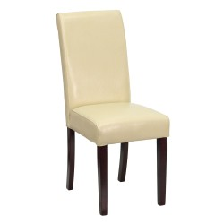 Ivory Leather Upholstered Parsons Chair