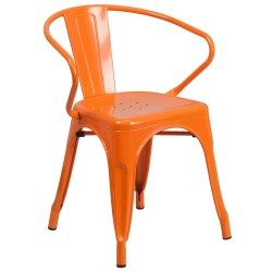 Orange Metal Chair with Arms