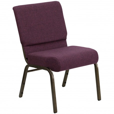 21'' Extra Wide Plum Fabric Stacking Church Chair with 4'' Thick Seat - Gold Vein Frame