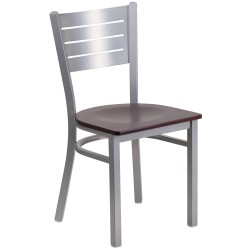 Silver Slat Back Metal Restaurant Chair - Mahogany Wood Seat